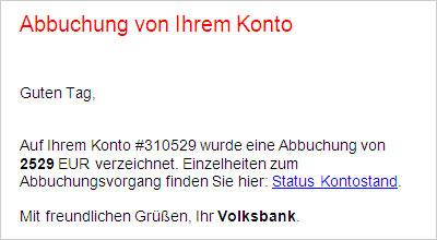 Phishing-Warnung Kontoabbuchung